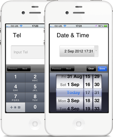 tel and date and time input type on mobile web